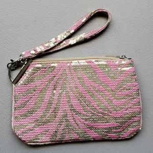 Pink and Sequence clutch/ wristlet purse